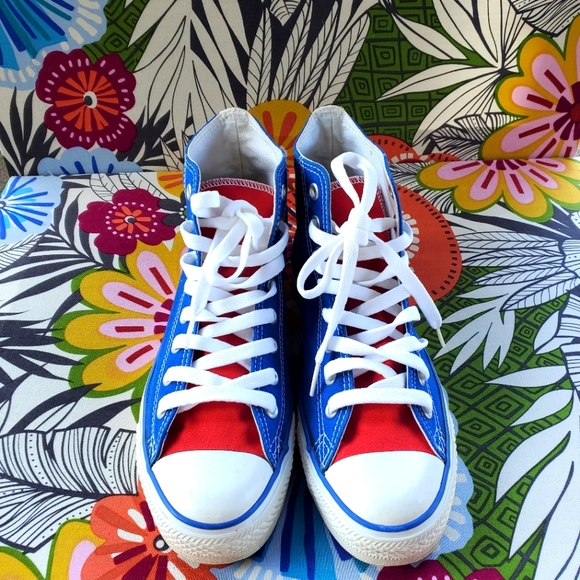 Red white and blue Chucks